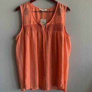 Black Rainn Pastel Orange Flowy Tank Top Sz XL